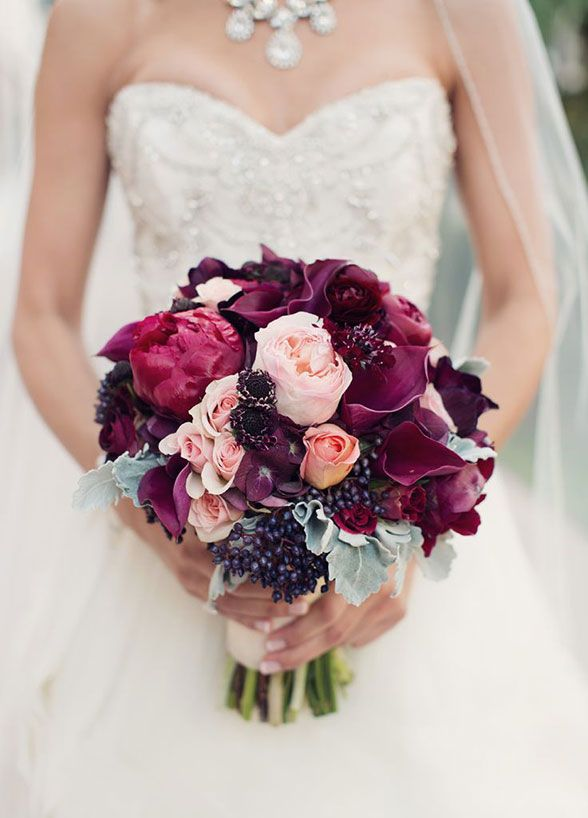 A mixture of light roses paired with deep burgundy blooms and berries creates a visually stunning arrangement. Fall Wedding Bouquets, Floral Arrangements