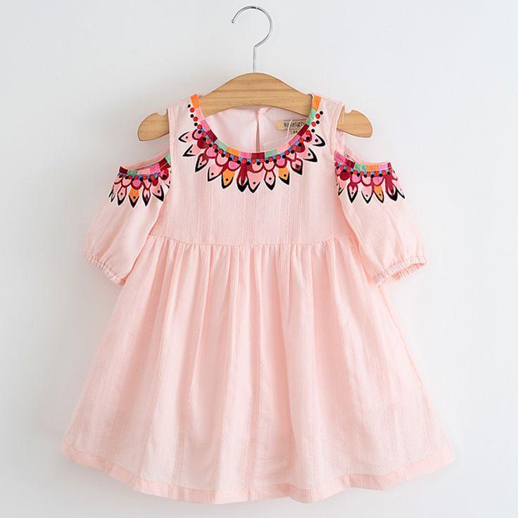Baby Girls Dress Pink 2017 Summer Cute Baby Girls Dresses Flower Printed Dresses for Girl Princess Mini Dress Children Clothes