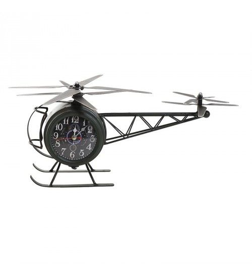 METALLIC TABLE CLOCK 2SIDED 'HELICOPTER' 42X23X22