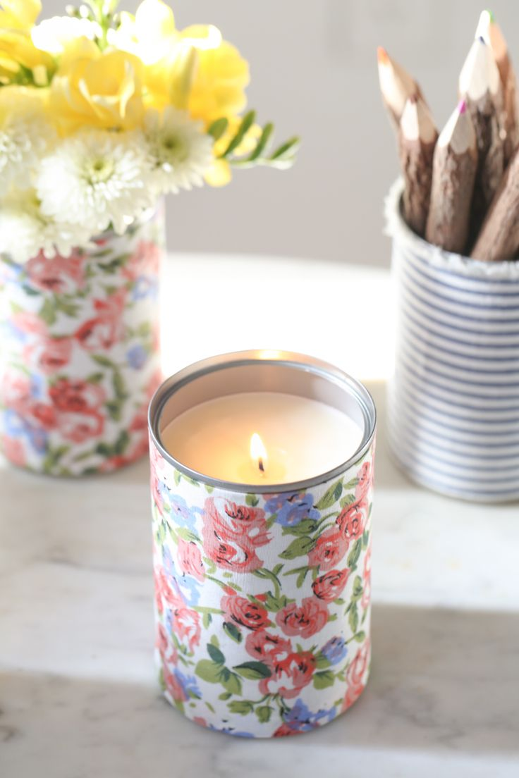 For the Makers: How to Make Fabric Wrapped Tin Cans - You can make a candle, pencil holder, vase, anything you want.