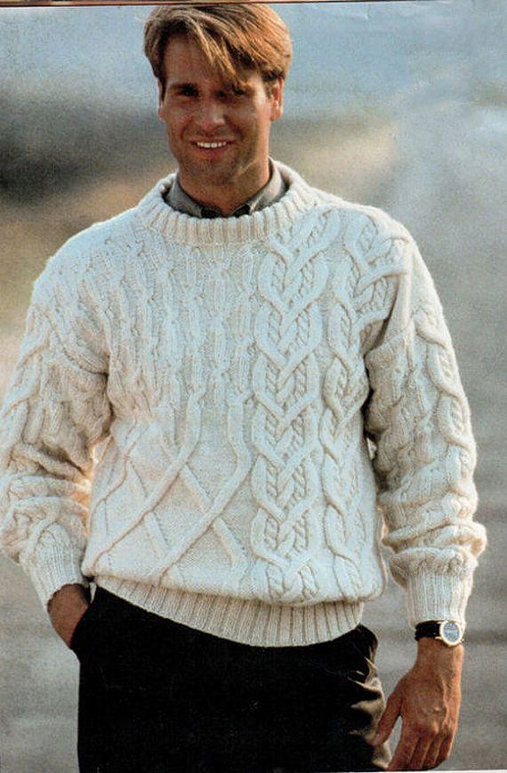 Men's Crewneck Sweater v-neck men turtleneck hand knitted sweater cardigan pullover men clothing handmade men knitting cabled