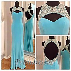 #promdress01 prom dresses - 2015 elegant sky blue chiffon open back beaded long prom dress for teens, ball gown, occasion dress #promdress #prom2k15 -> www.promdress01.c... #coniefox #2016prom