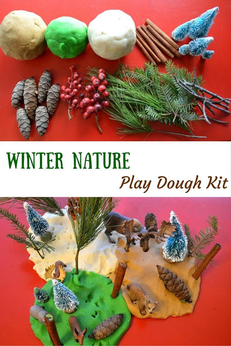Winter Nature Play Dough Kit - create a fun nature-themed winter scene