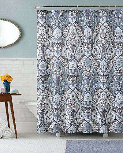 Calais Dobby Fabric Shower Curtain IKat Floral Design Blue Chocolate And Silver Gray