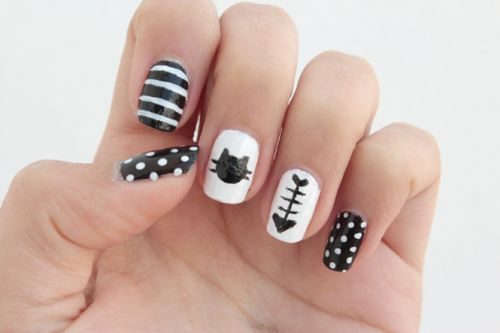 Funny DIY Black And White Cat Nails - Styleoholic