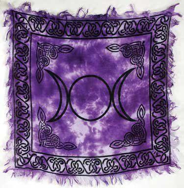Magic Goddess Wicca Triple Moon Purple Tie Dye Altar Cloth