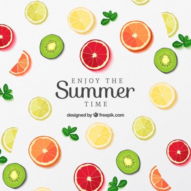 Rodajas de fruta del cartel para el verano Vector Gratis