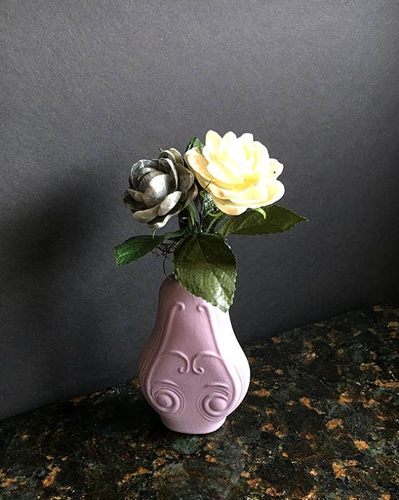 Sea shell flower arrangement - 2 unique, life-like sea shell flowers in a lilac glass vase