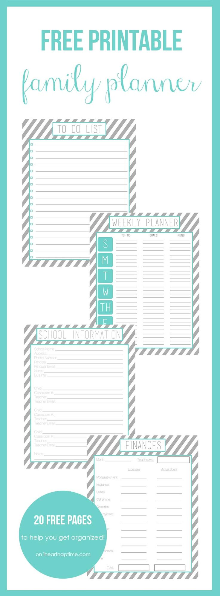 Free printable family planner on iheartnaptime.com -over 20 free printables to help you get organized in the new year!