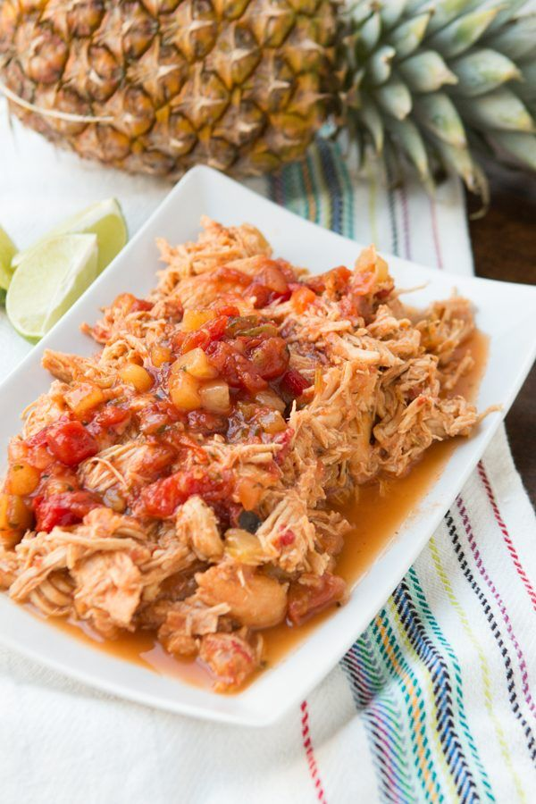 Everyone's Favorite Mango chicken in the slowcooker. And it's just made with salsa! ohsweetbasil.com