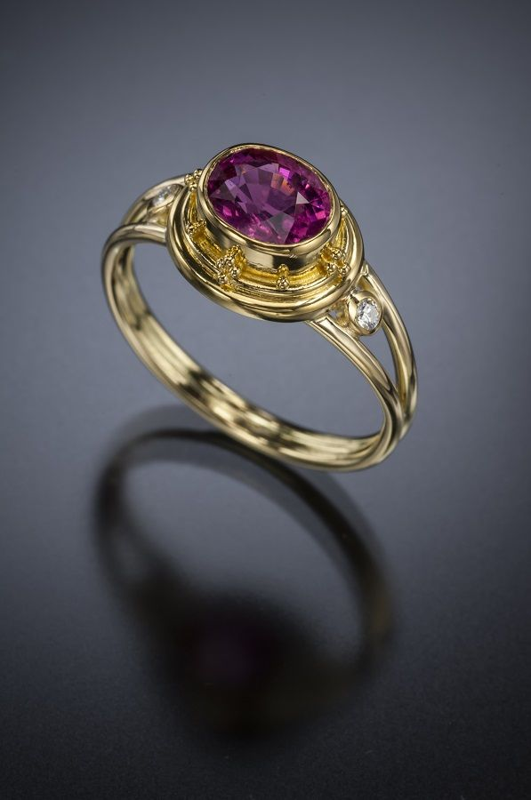 Pink Tourmaline and Diamond Ring 18K Gold - Available