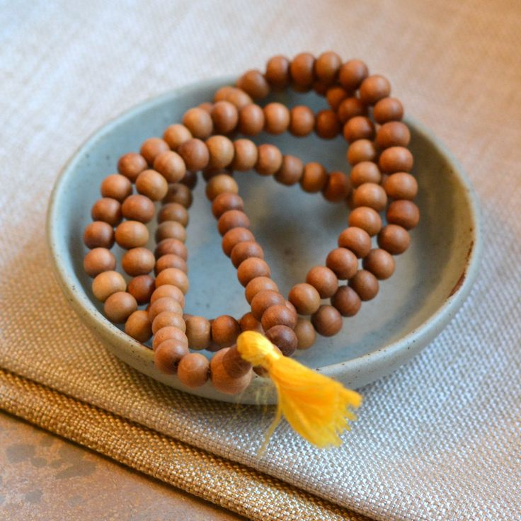 10mm Sandalwood Beads Mala, Natural Sandalwood Beads, Fragrant Wood Beads, 108 Beads Prayer Mala, Real Sandalwood, 12mm Guru Bead, MPM171012 by WanderlustWorldArts on Etsy