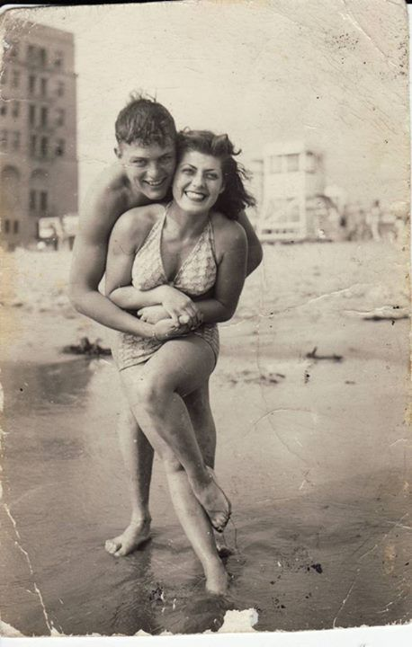 Vintage photo, couple on the beach