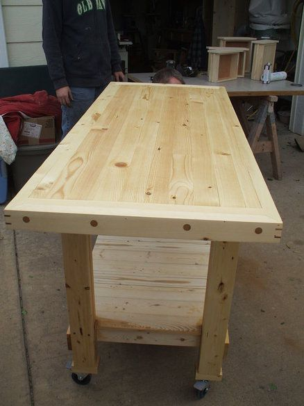 "Workbench for the garage - on wheels to rotate/move out as and ""island"" for entertaining!"