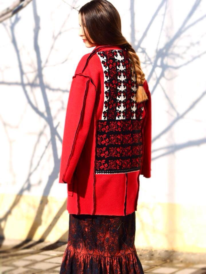 Red Coat, Contemporary Design, Unique handmade embroidery, Traditional Romanian Design