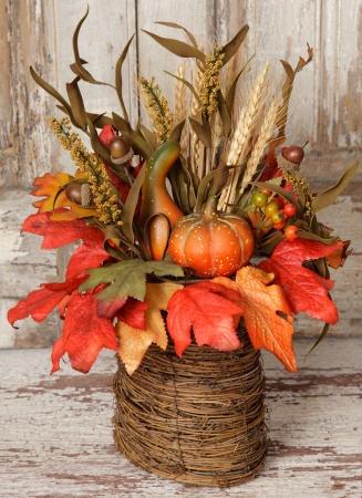 Twig Basket Arrangement-Wheat, Gourds, Berries.