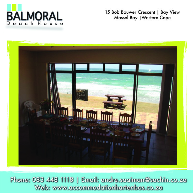 Come and have a family dinner here in Balmoral Beach House and enjoy the view of the ocean. Call us at: 083 448 1118 E-Mail: andre.saaiman@sachin.co.za #accommodation #Hartenbos #BalmoralBeachHous