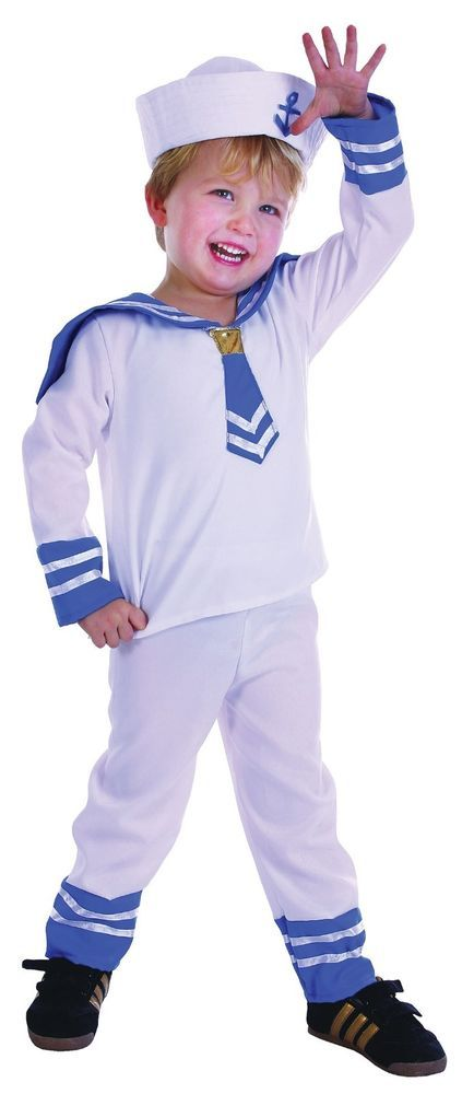 Sailor Costume Boy Toddler Fancy Dress Suit Tunic Complete Outfit White & Navy