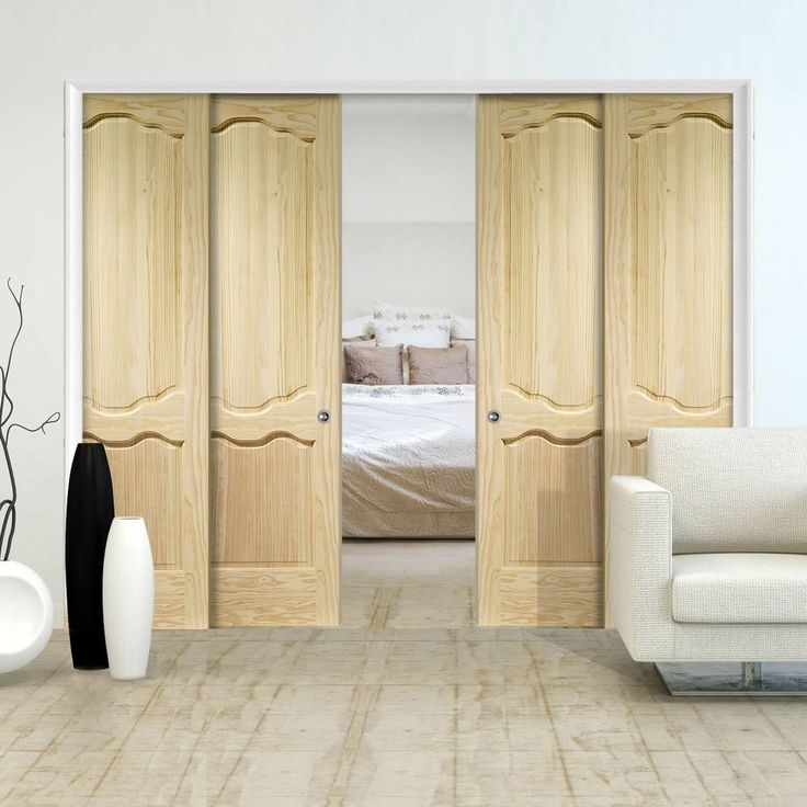 Quad Telescopic Pocket Louis Clear Pine Door.    #pocketdoors #internaldoors #telescopicdoors #hiddendoors #disappearingdoors #moderndoors