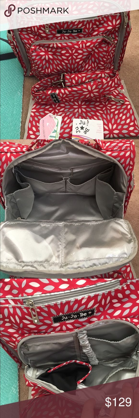JuJuBe BFF diaper bag Gently used BFF diaper bag! No damage of any sort and well cared for; I'm the original owner and used for maybe 5 months. Comes with tags, the changing pad, shoulder straps and back straps. Firm on price given the 20% cut. JuJuBe Bags Baby Bags