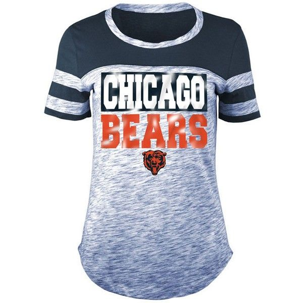 5th & Ocean Women's Chicago Bears Space Dye Foil T-Shirt ($38) ❤ liked on Polyvore featuring tops, t-shirts, navy, t shirt, chicago bears shirt, nfl t shirts, navy blue shirt and blue shirt
