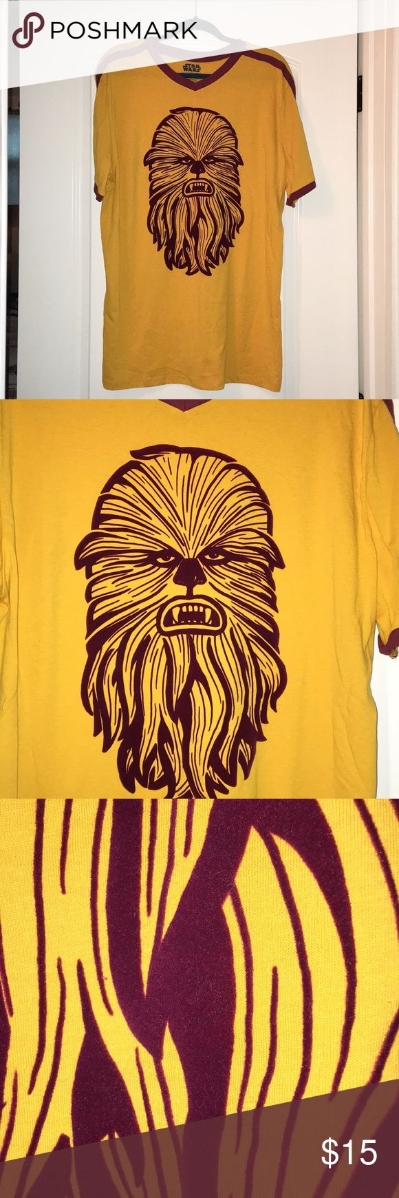 Star Wars Mens Chewbacca T-Shirt Size XL Star Wars Mens Chewbacca T-Shirt Size XL. New, never worn, tags removed. Chewbacca is almost a velvet imprint. Very cool! Striking colors. Perfect condition. Star Wars Shirts Tees - Short Sleeve