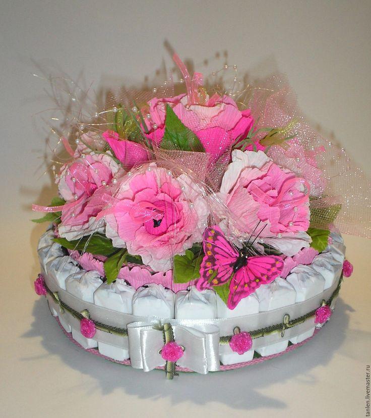 Купить Торт- шкатулка из конфет - Розовые мечты - комбинированный, сладкий подарок, сладкий букет