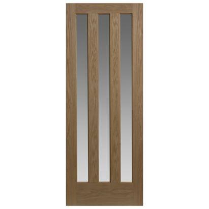 Vertical 3 Panel Oak Veneer Internal Glazed Door, 1088A