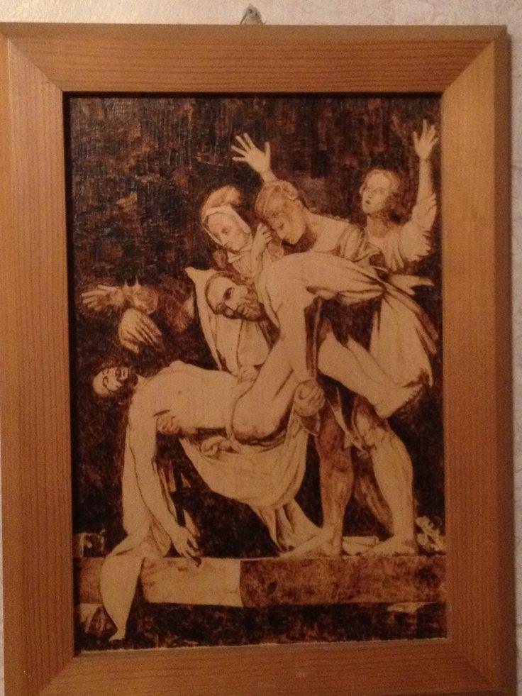 Deposizione di San Pietro, pirografia su tavola di compensato.