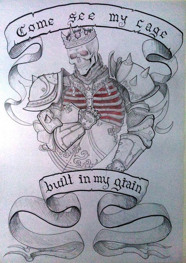 """Esqueleto con armadura y lienzos con las fraces """"Come se my cage"""" (Ven a ver mi jaula), """"Built in my grain"""" (construida en mi grano), tecnica mixta grafito y plumones."""