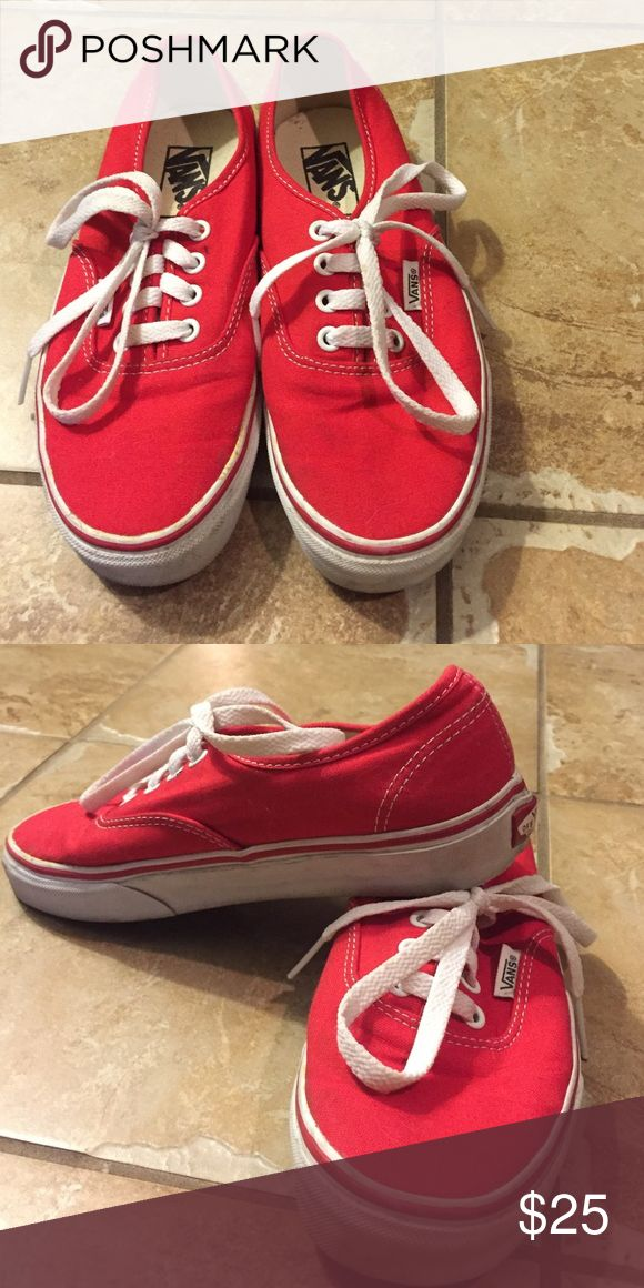 Red vans In pretty good condition, a little dirty just needs to be cleaned. Worn a handful of times Vans Shoes Sneakers