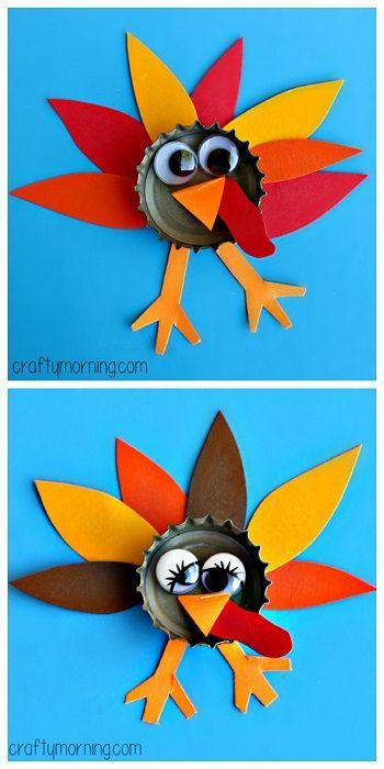 Bottle Cap Turkey Craft #Thanksgiving craft for kids to make!   CraftyMorning.com