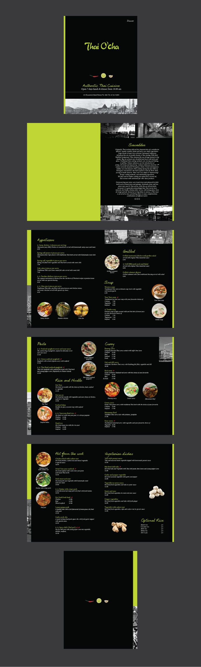 Menu for Thai O' Sha Restaurant that is located in Melbourne, Australia