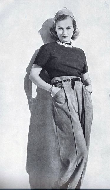 Joan Bennett in slacks