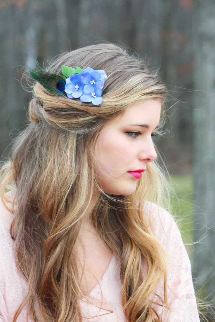 blue hydrangea hair comb, peacock feather flower comb,