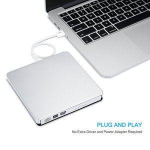 Lecteur/Graveur Patuoxun, Lecteur DVD CD externe utra-slim, Graveur DVD CD Port USB, lecteur enregistreur DVD compatible avec Apple…