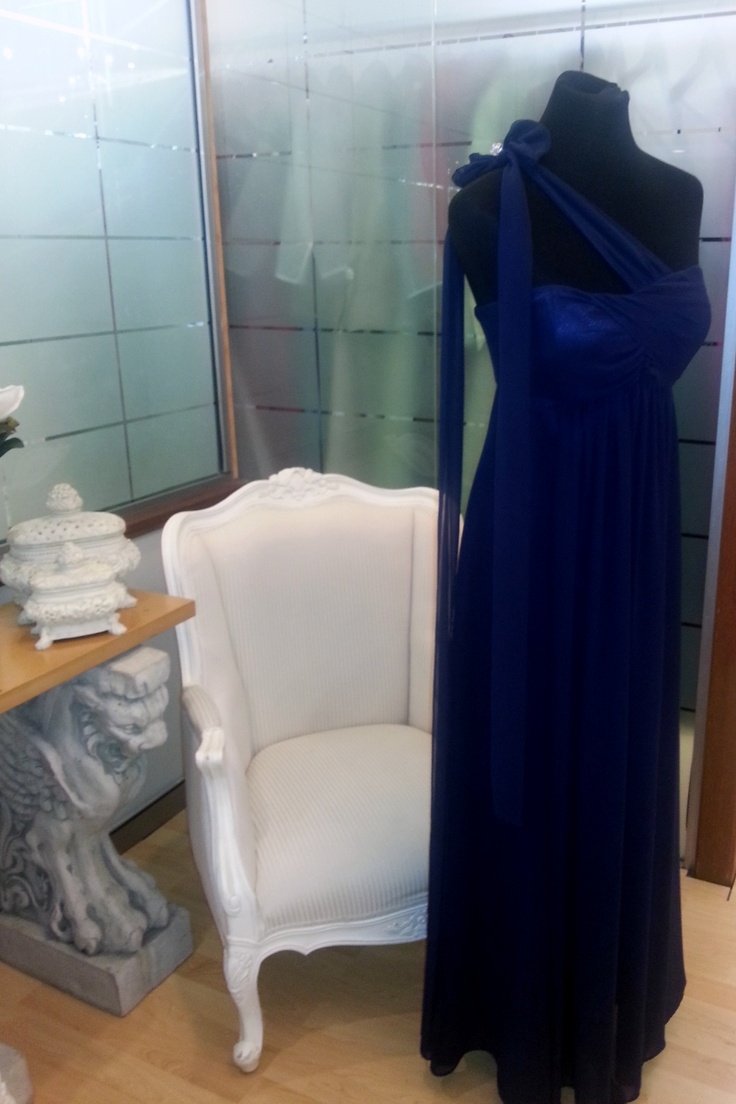 Navy Long Mia Gown - One shoulder style