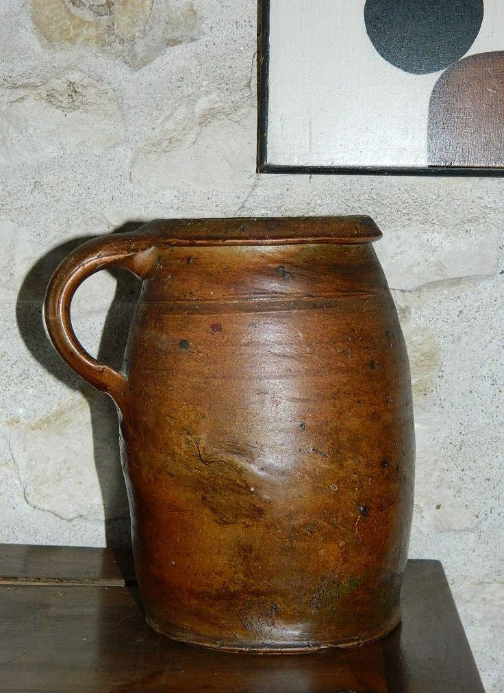POTERIE , pichet vintage , PITCHER ceramic. Ancien Pot en terre cuite hauteur 21 cm ( height 8,27 inches) de la boutique vintagemadeinFRANCE sur Etsy