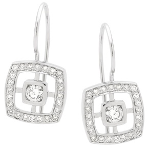 Beautiful square diamond drop earrings with a total of 0.66ct diamonds. Perfect as bridal earrings