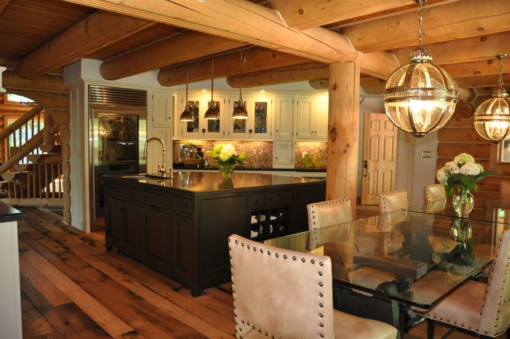 Elegant log home kitchen the island is handcrafted in oak for Elegant log homes
