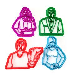Comedy Central's Archer series - brought to you in wonderful cookie cutter form. Sterling Archer, Mallory Archer, Pam, and Lana! Plastic cookie cutter ideal for cookie-cutter-compatible dough recipes