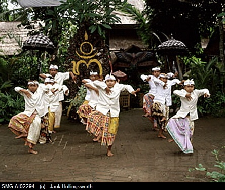 Indonesia, Bali, young boys in traditional costume dancing
