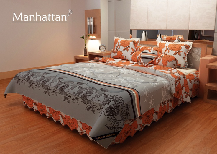 Manhattan Bed Cover - New Copper with florist abstract design
