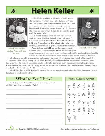Worksheets: Helen Keller Biography