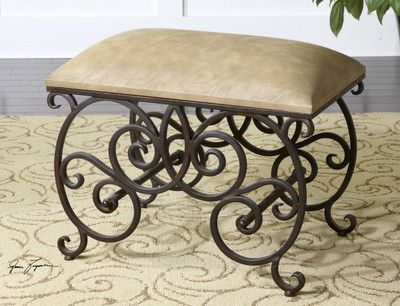 Tuscan Old World Scrolled Iron Anjali Small Vanity Bench