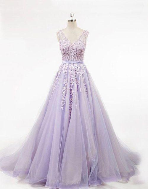 8ec6a7d23c0e8 Light purple v neck tulle long prom dress, evening dress | Suknie ...