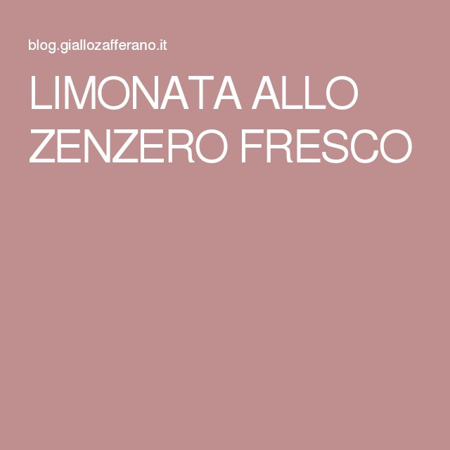 LIMONATA ALLO ZENZERO FRESCO