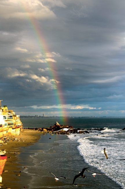 Pic of the rainbow we had yesterday at the beach in Malibu... January 27, 2013
