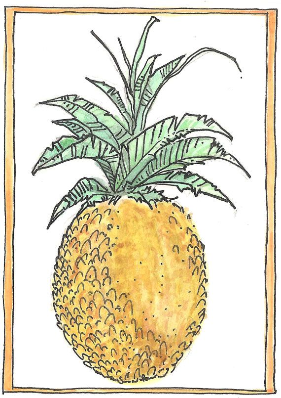 "Aceo card ""Pineapple"" original watercolour art card, watercolor"