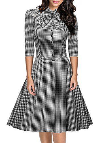 Miusol Women's Official Bow Neck Plaid Slim Half Sleeve Vintage Dress Miusol http://www.amazon.com/dp/B016Q6OP2U/ref=cm_sw_r_pi_dp_QqyLwb16BAGVP